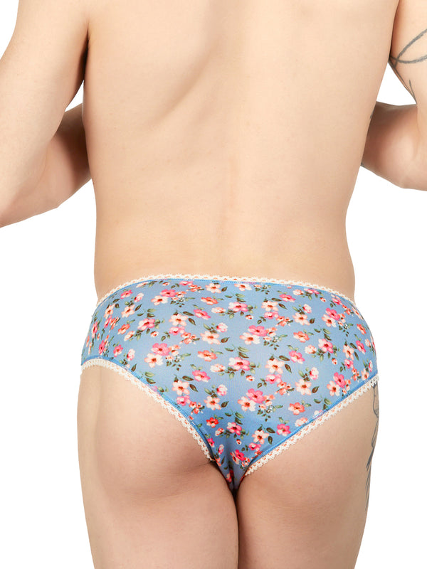 Men's blue floral panties