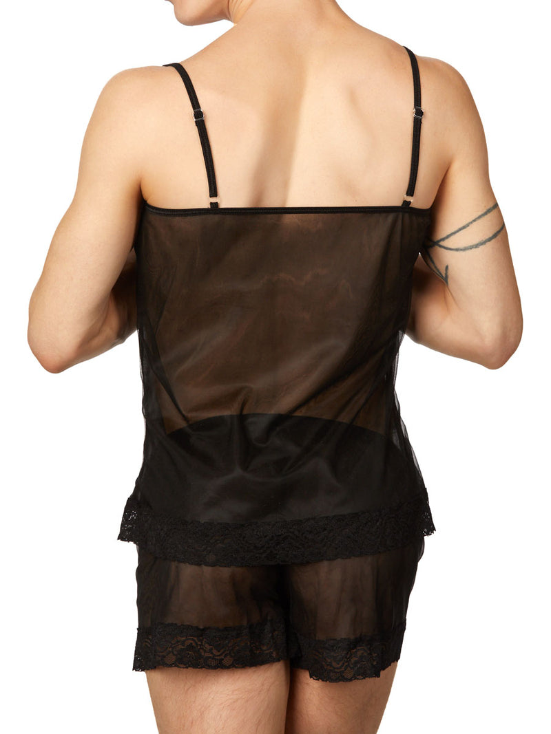 Men's black lace and chiffon camisole