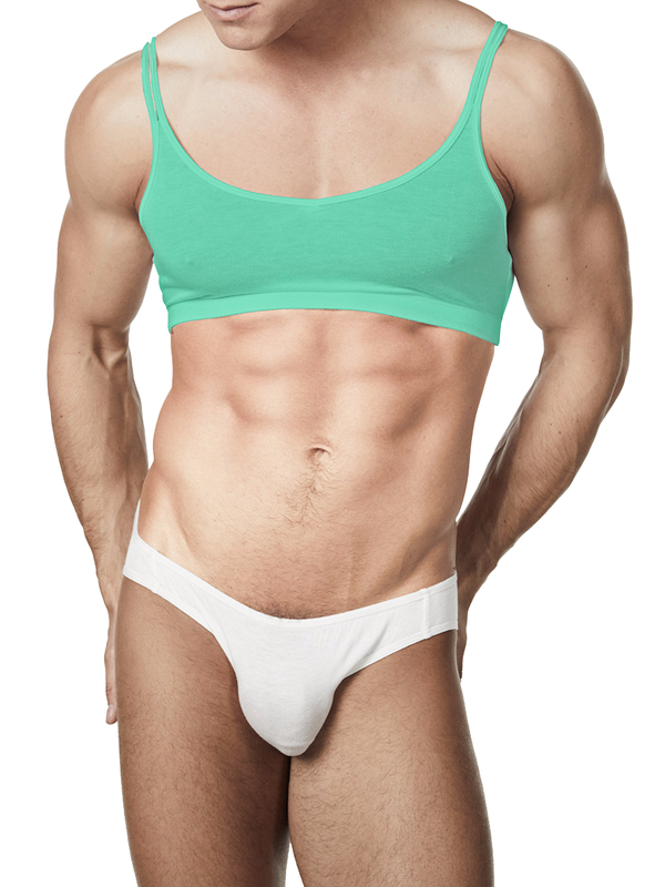 Men's green soft rayon sissy crossdressing bra