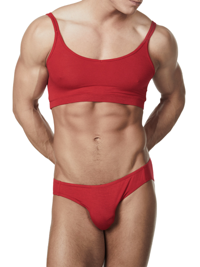 Men's red soft rayon sissy crossdressing bra