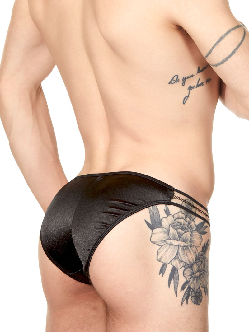 Men's black satin tanga