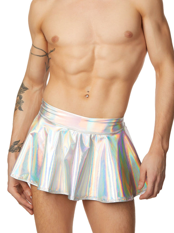 men's silver metallic skirt