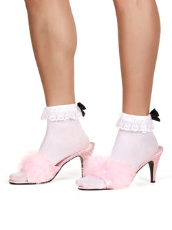 Men's pink fluff ball pom pom high heeled sissy crossdressing shoes