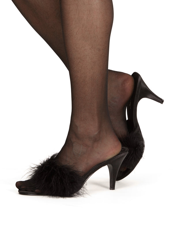 Men's black fluff ball pom pom high heeled sissy crossdressing shoes