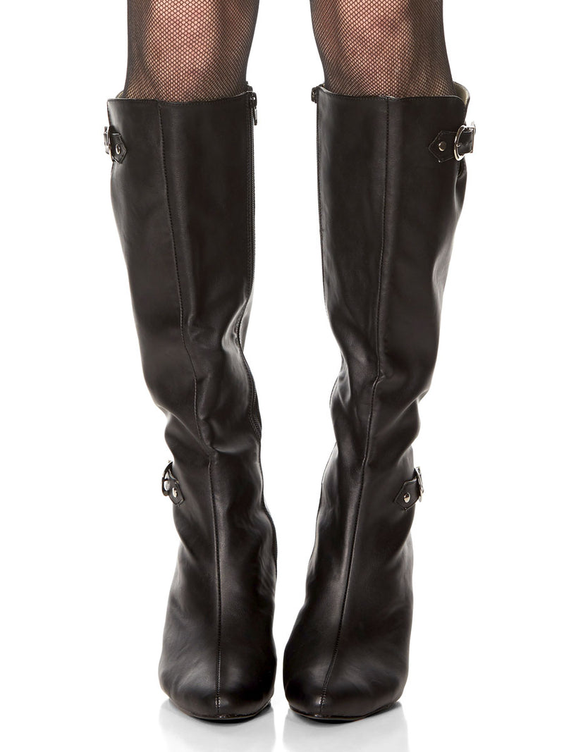 Knee Length Faux Leather Boot
