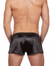 Men's black satin gym short