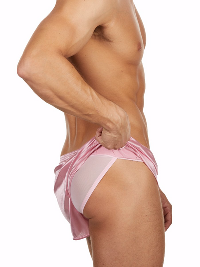 Men's pink satin gym short