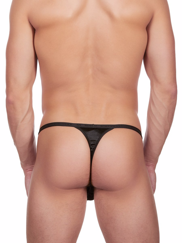 Men's black satin g-string thong