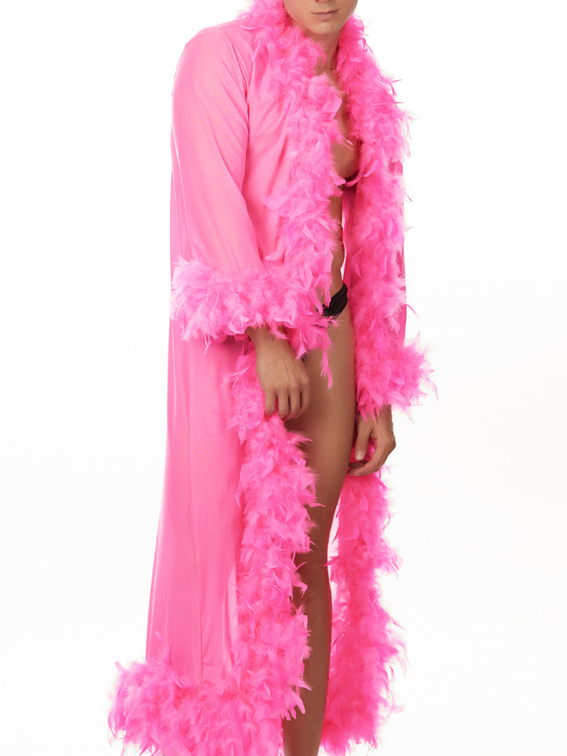Men's pink feathered robe