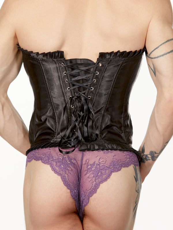 Men's black satin corset
