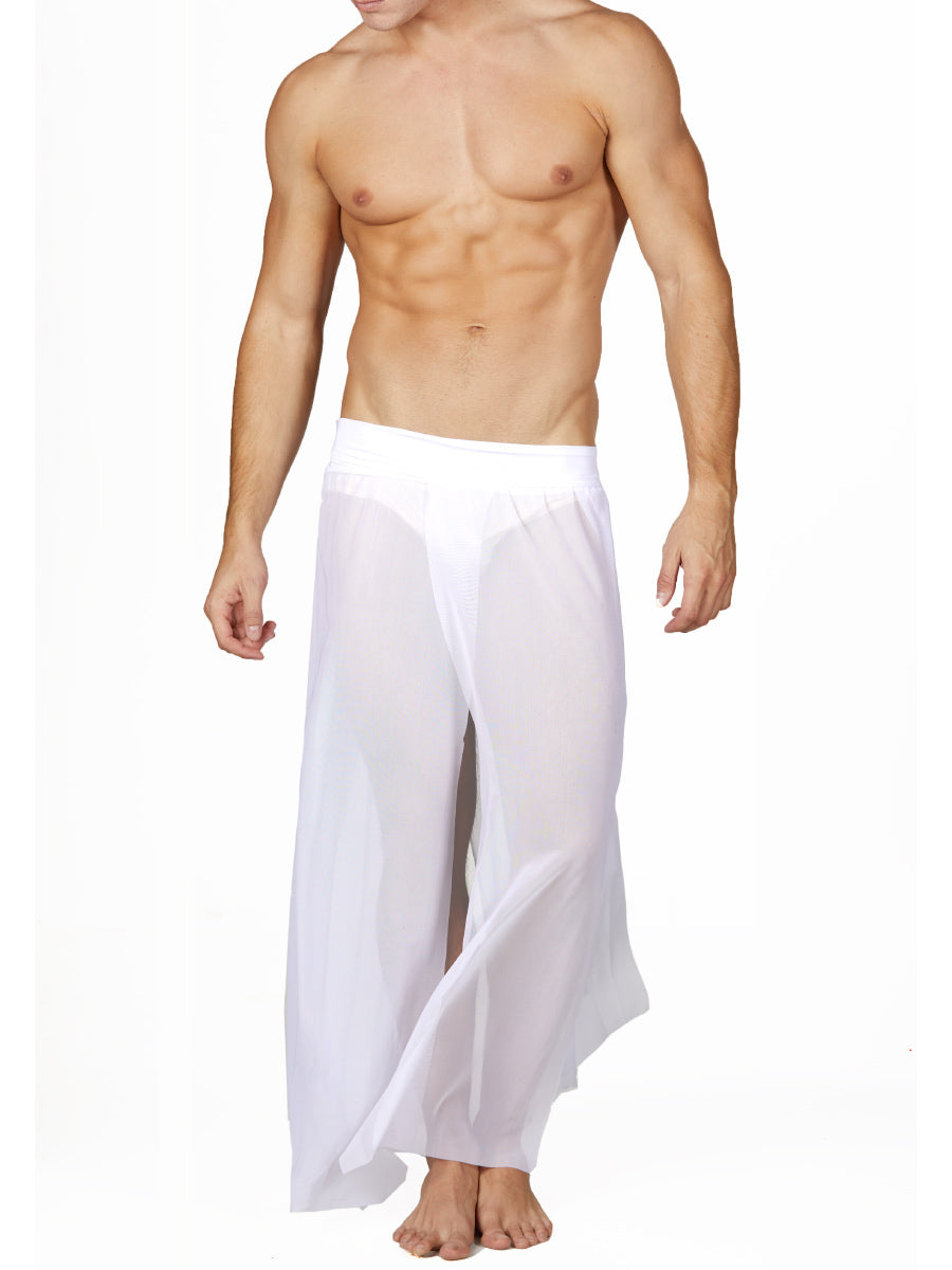 Men's White Mesh Maxi Skirt