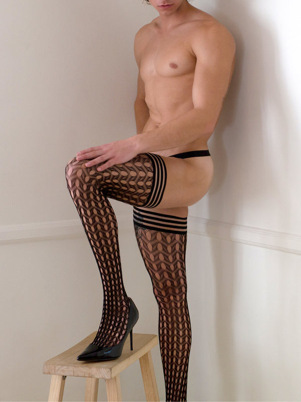 Circle Fishnet Thigh High