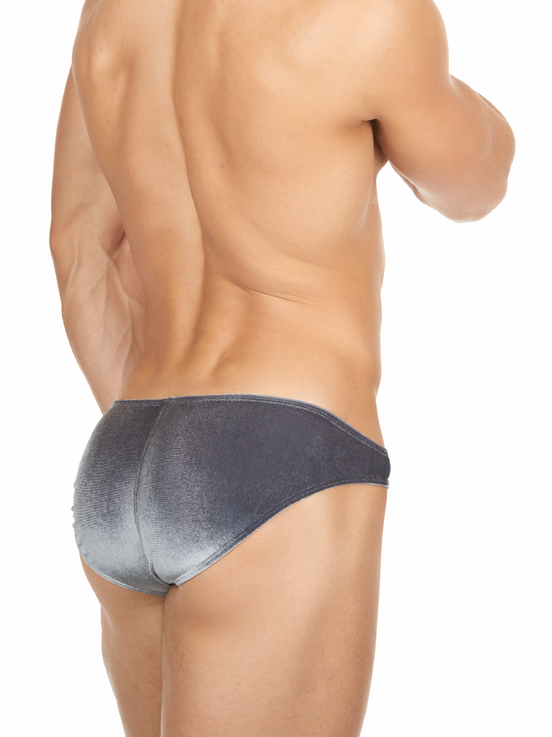 Men's silver shiny velvet bikini cut brief panties