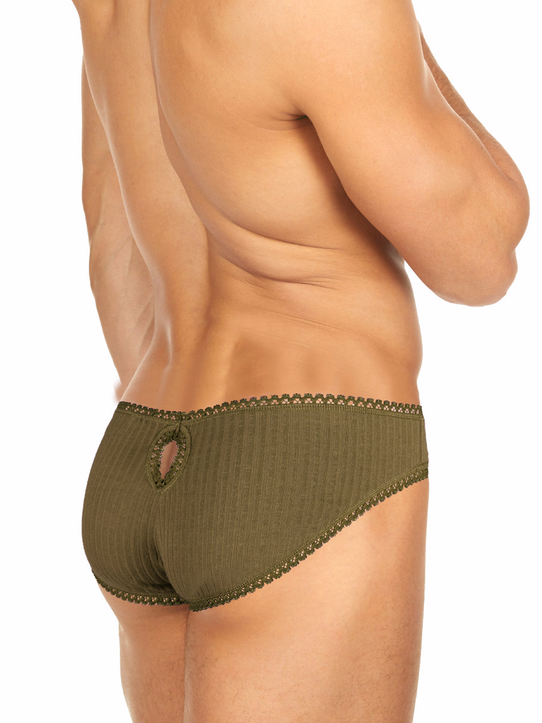 Men's green ribbed lace key hole brief panties