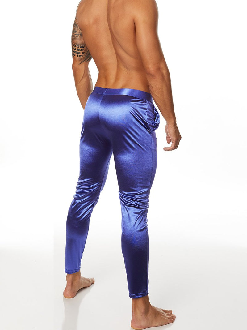 Men's blue satin joggers