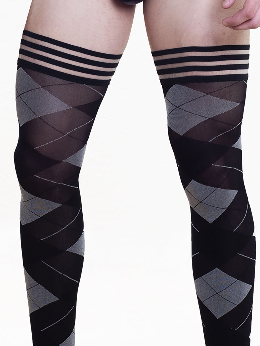 Men's Black Argyle Thigh High Tights