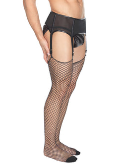 Men's black industrial fishnet tights