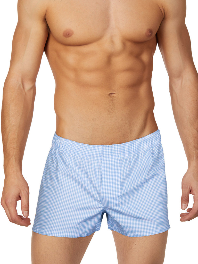 Men's pastel blue checkered plaid boxers underwear