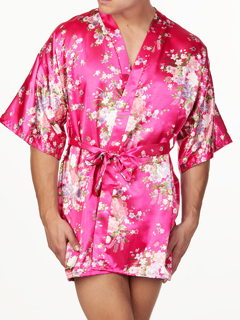 Men's Satin Floral Print Short Robe
