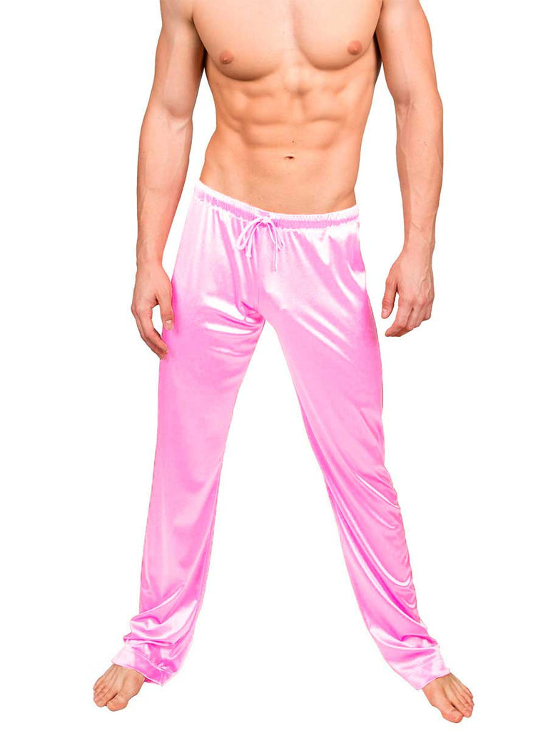 Men's pink satin drawstring sleep lounge pants