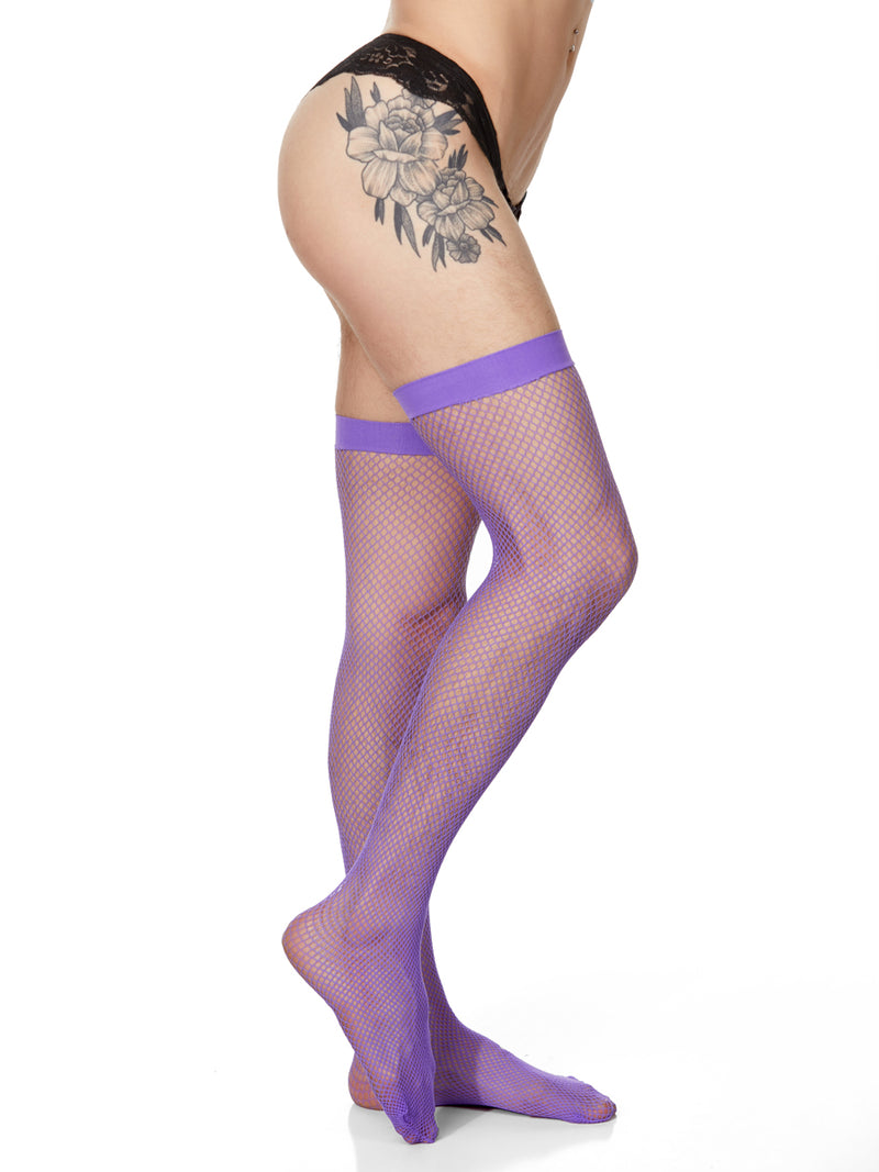 Men's purple fishnet stockings