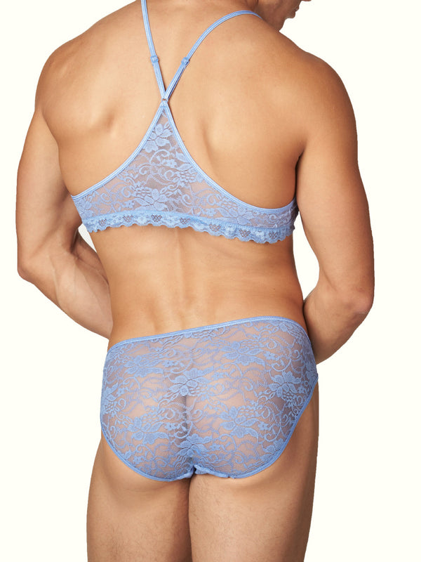 Men's Blue Satin and Lace Bra