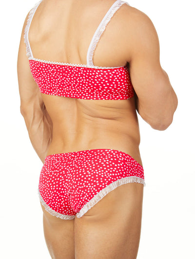 Men's red polka dot lace bra