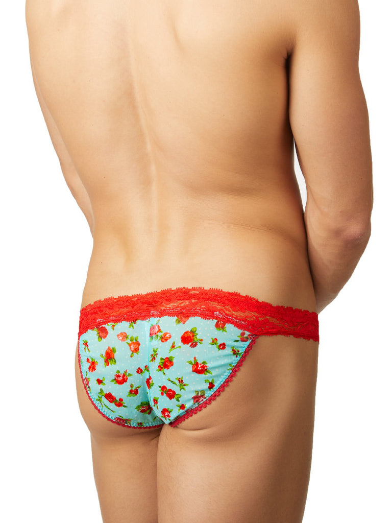 Men's green and red lace floral patterned sissy tanga panties