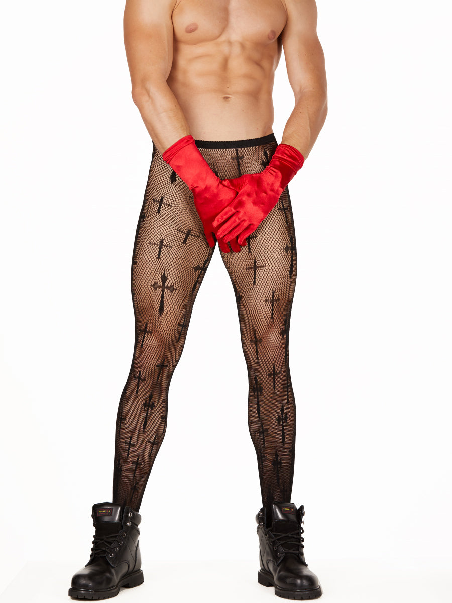 Men's black fishnet cross patterned pantyhose tights
