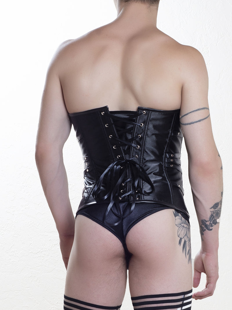 Men's black strappy corset