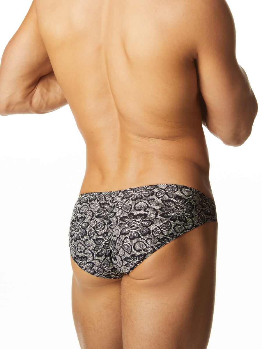 Men's black and grey lace pattern brief panties