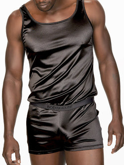 Men's black satin romper