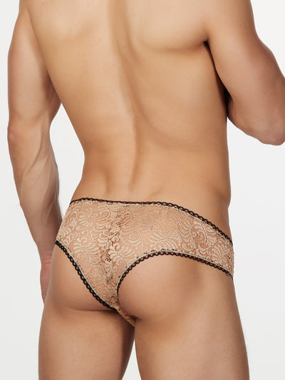 Men's Nude Lace Cheeky Briefs