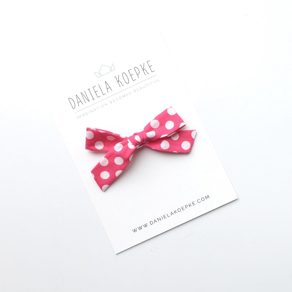 The Lucy Handtied Medium Bow // Pink Cadillac Dot