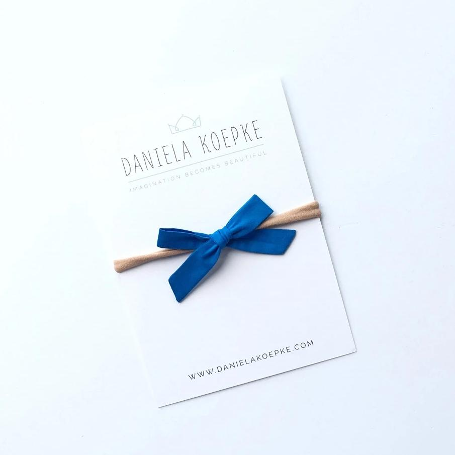 La Petite Handtied Bow // Electric Blue - Headband or Clip