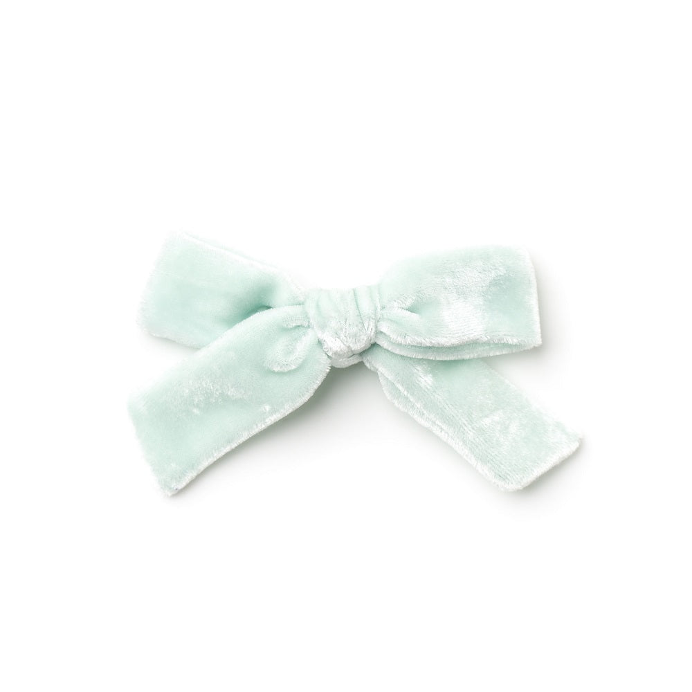 The Lucy Handtied Medium Velvet Bow // Dew