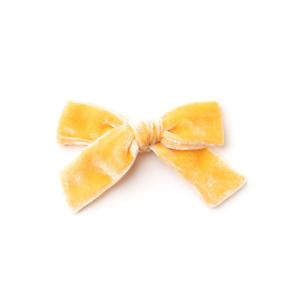 The Lucy Handtied Medium Velvet Bow // Goldenrod