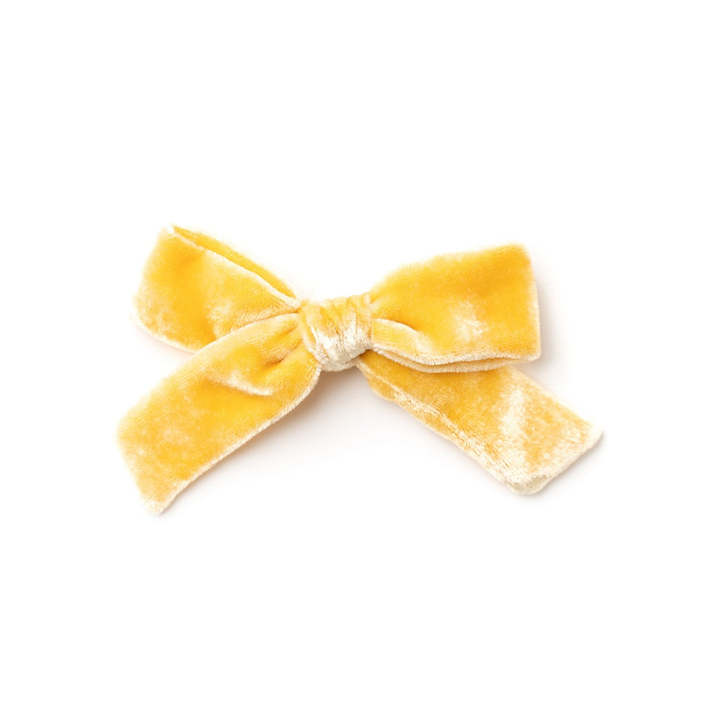 The Lucy Handtied Medium Velvet Bow // Honey Mustard