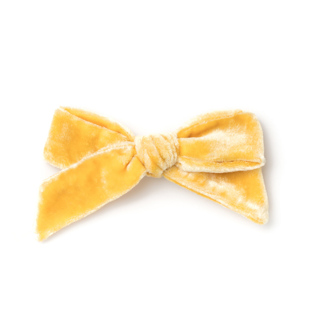 La Grande Oversized Handtied Velvet Bow // Honey Mustard