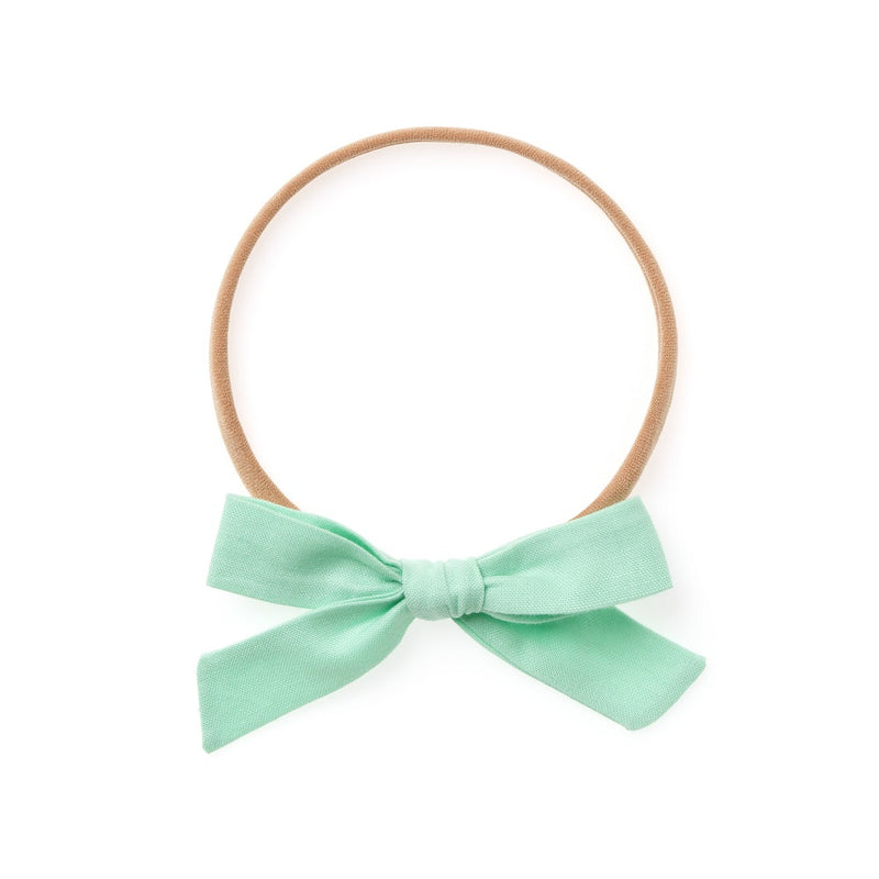 La Petite Handtied Bow // Mint - Headband or Clip