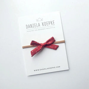 La Petite Handtied Bow // Peppermint Dot - Headband or Clip