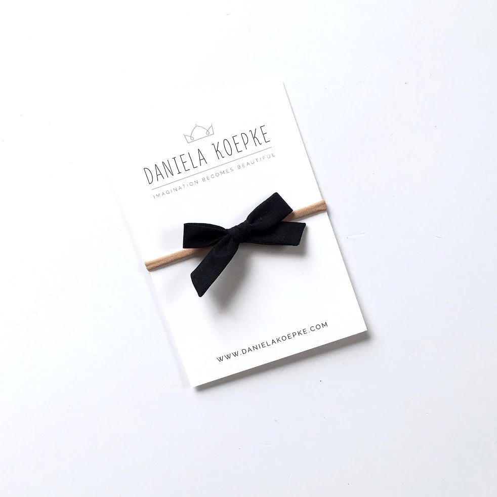 La Petite Handtied Bow // Ink - Headband or Clip