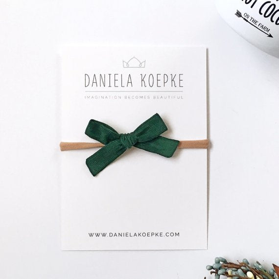 La Petite Handtied Bow // Hunter - Headband or Clip