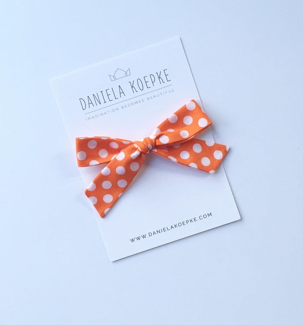 La Grande Oversized Handtied Bow // Golden Orange Dot