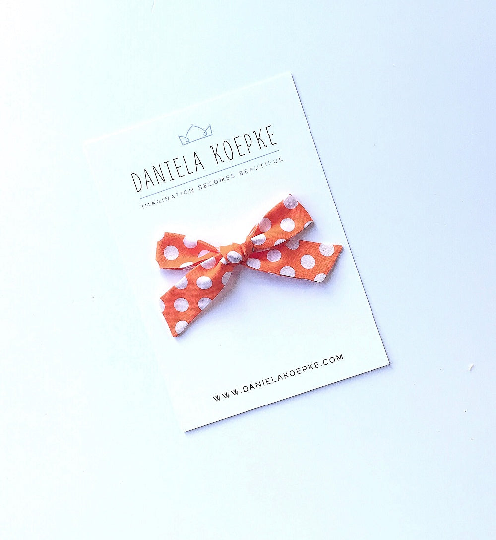 The Lucy Handtied Medium Bow // Golden Orange Dot