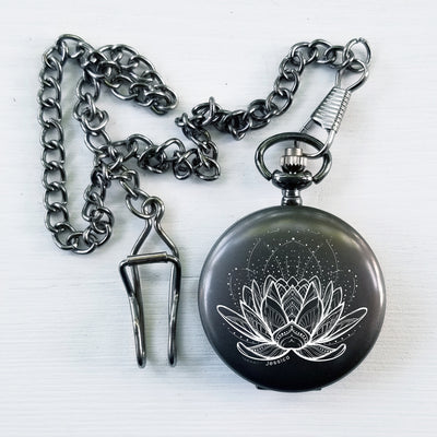 Pocket Watch, Gunmetal Gray, Bridesmaid Gift, Mystical Lotus Tattoo