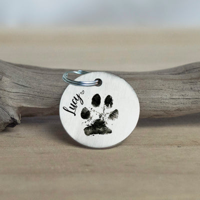 Laser-engraved Keychain with Actual Handwriting, Pet Portrait, or Pawprint, Stainless Steel