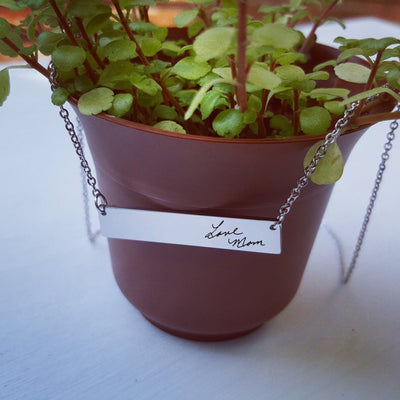 Laser Engraved Personalized Bar Necklace, Your Actual Handwriting, Custom Memorial Jewelry, Unique Remembrance Gift, LXJC100066