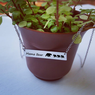 Laser Engraved Custom Name Pendant, Mama Bear Bar Necklace, Cubs, Unique Gift for Mom, Personalized Rose Gold Jewelry, for Her,  LXJC100043