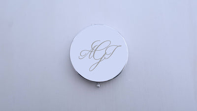Laser Engraved Personalized Pocket Mirror, Silver Metal Compact, Magnified, MOTG Groom, Mother of the Bride Gift, LGC10251